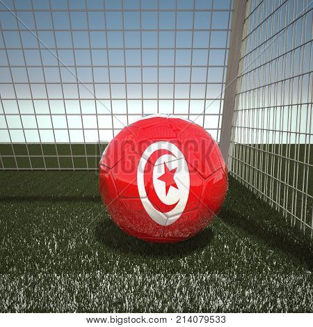 Football with flag of Tunisia, 3d rendering
