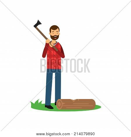 Cheerful lumberjack man standing with axe in hands, log lying on green grass. Cartoon bearded woodcutter character in hipster plaid shirt and blue jeans. Flat vector illustration isolated in white.
