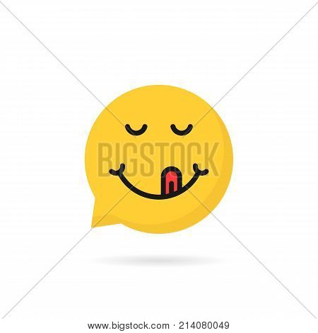 yummy emoji speech bubble logo. concept of simple chatbot button, dialog service, happiness, humor, social network avatar element, pleased. flat style trend modern graphic design on white background