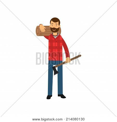 Cartoon lumberjack man standing with timber on his shoulder and holding ax in hand. Smiling bearded woodcutter character in red plaid shirt and blue jeans. Feller concept. Flat vector illustration.