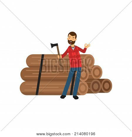 Confident bearded lumberjack standing near pile of logs with ax, other hand showing ok sign. Cartoon woodcutter character in hipster plaid shirt and blue jeans. Isolated flat vector illustration.