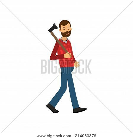 Vector illustration of bearded woodcutter character walking with axe in his hand. Cheerful lumberjack man wearing in red checkered shirt and blue jeans. Forest worker concept. Isolated flat design.