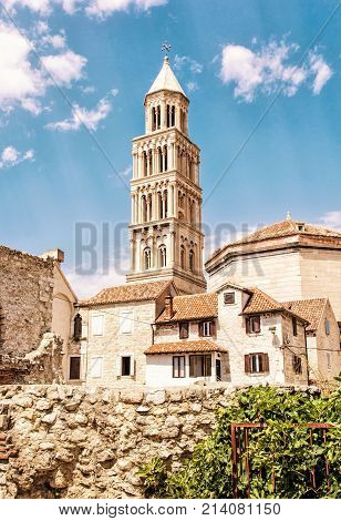 Cathedral of Saint Domnius in Split Croatia. Religious architecture. Travel destination. Yellow photo filter.