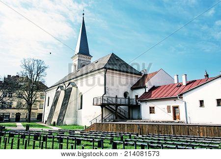 Calvinist church in Kosice Slovak republic. Religious architecture. Travel destination. Blue photo filter.