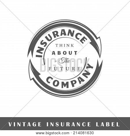 Insurance label isolated on white background. Design element. Template for logo signage branding design. Vector illustration