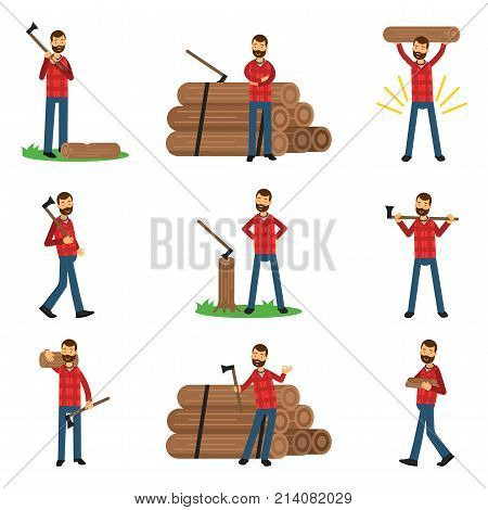 Woodcutter cartoon character set in different poses. Standing near pile of logs, holding timber, with axe in hand, cutting wood. Dressed in hipster plaid shirt and blue jeans. Isolated flat vector.