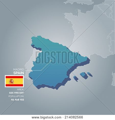 Spain 3d map with information of area and population of the country.