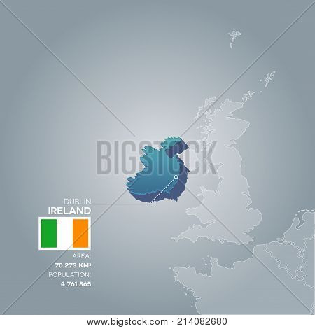 Ireland 3d map with information of area and population of the country.