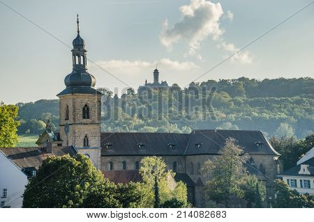 Bamberg cityscape with a Church and a castle in the background belfry in Bavaria, Germany