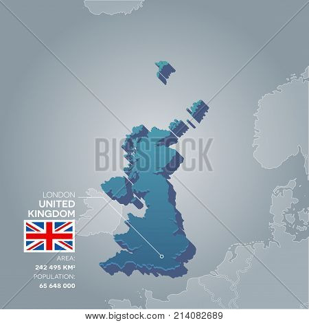 United Kingdom 3d map with information of area and population of the country.