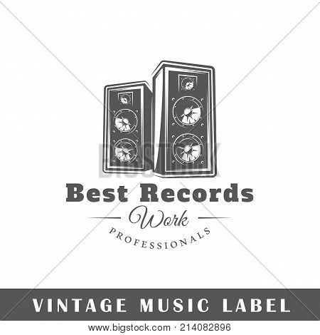 Music label isolated on white background. Design element. Template for logo signage branding design. Vector illustration