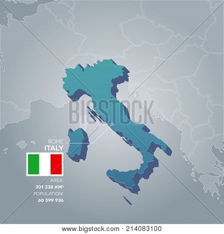 Italy 3d map with information of area and population of the country.