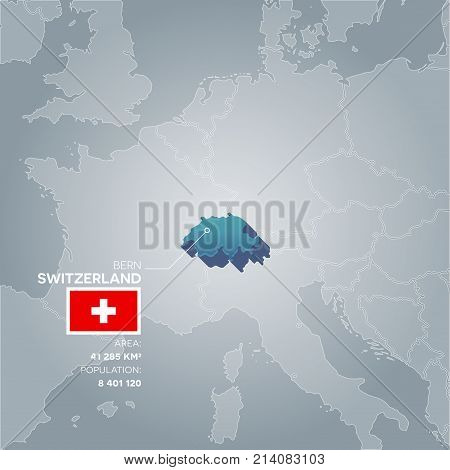 Switzerland 3d map with information of area and population of the country.