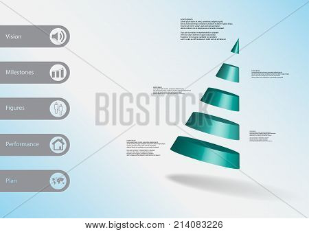 3D Illustration Infographic Template With Cone Divided To Five Parts Askew Arranged