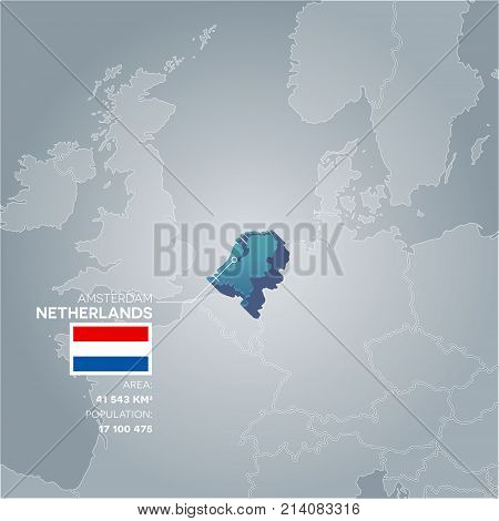 Netherlands 3d map with information of area and population of the country.
