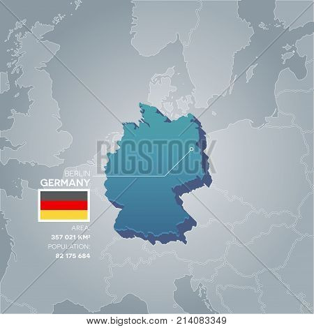 Germany 3d map with information of area and population of the country.