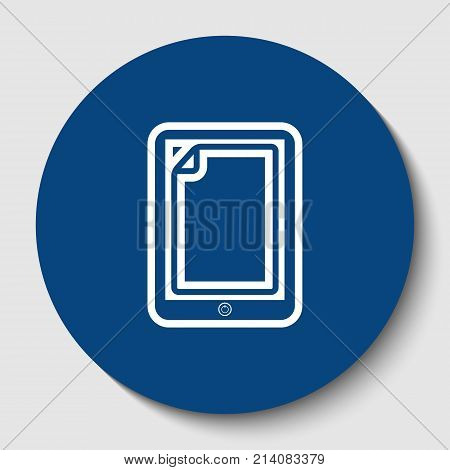 Protective sticker on the screen. Vector. White contour icon in dark cerulean circle at white background. Isolated.