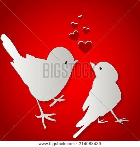 Birds kissing on Valentine's Day, vector art illustration.