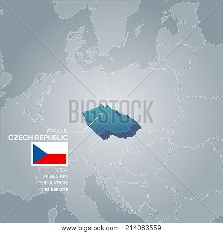 Czech Republic 3d map with information of area and population of the country.