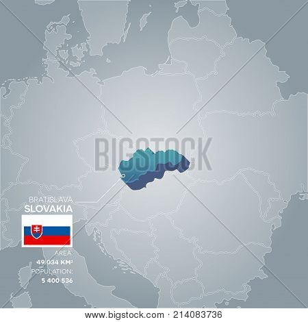 Slovakia 3d map with information of area and population of the country.