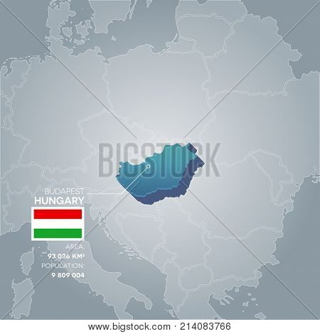 Hungary 3d map with information of area and population of the country.