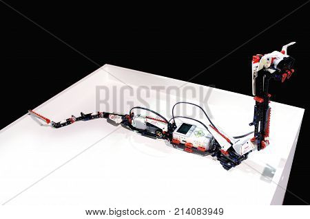 MOSCOW, RUSSIA - NOVEMBER 8, 2017: Robot snake. Responds to movement. may bite when approached. Developed by LEGO