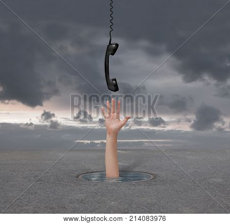 hand gives the phone a man who is drowning