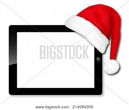Tablet IPAD Santa hat, vector art illustration Christmas discounts.