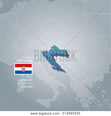 Croatia 3d map with information of area and population of the country.