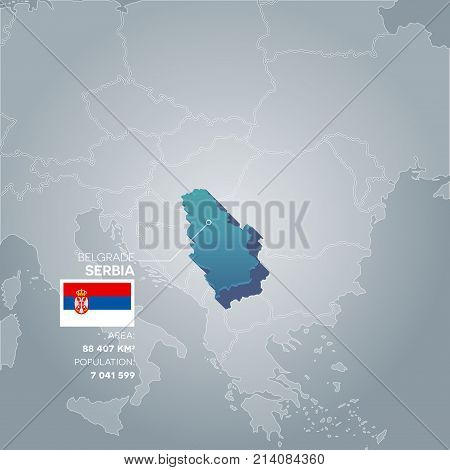 Serbia 3d map with information of area and population of the country.