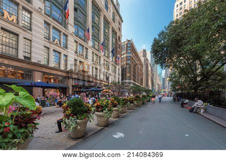 Macy's Herald Square flagship retail store in Midtown Manhattan on a summer day on July 30, 2017 in New York. Shopping clothing at largest department retail store.