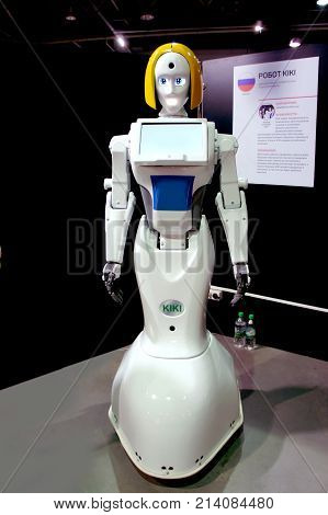 MOSCOW, RUSSIA - NOVEMBER 8, 2017: girl robot KIKI at the exhibition. Can be used for promotion, presentation, birthday, corporate events, and other. Made in Russia.