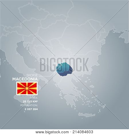 Macedonia 3d map with information of area and population of the country.