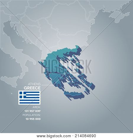 Greece 3d map with information of area and population of the country.