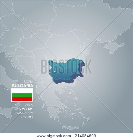 Bulgaria 3d map with information of area and population of the country.