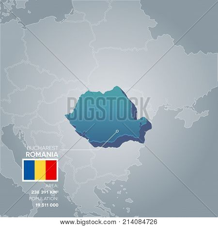 Romania 3d map with information of area and population of the country.