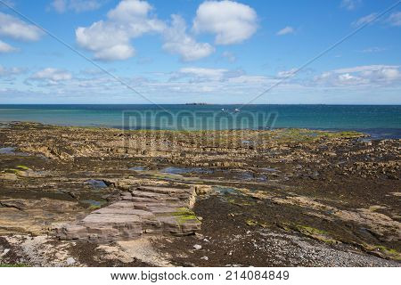 Seahouses Northumberland coast north east England UK with view to the Farne islands tourist attraction