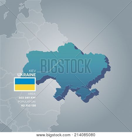 Ukraine 3d map with information of area and population of the country.