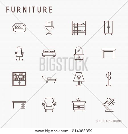 Furniture concept thin line icons set of coach, bookcase, bed,  dresser, chair, lamp, floor hanger. Modern vector illustration.