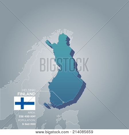 Finland 3d map with information of area and population of the country.