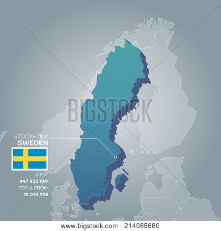 Sweden 3d map with information of area and population of the country.