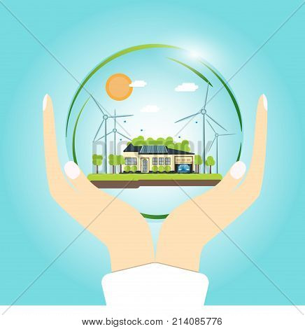 Ecologically clean house. House, solar panels, windmill on the ground. Vector illustration of an ecology concept infographics of modern design in a glass bowl on the hands