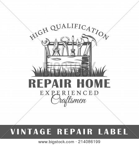 Repair label isolated on white background. Design element. Template for logo signage branding design. Vector illustration