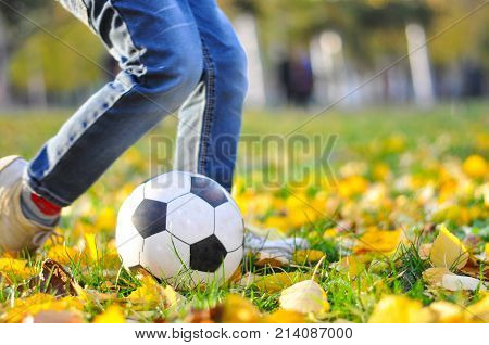 Boy kicks the ball in autumn park. Happy child play with ball