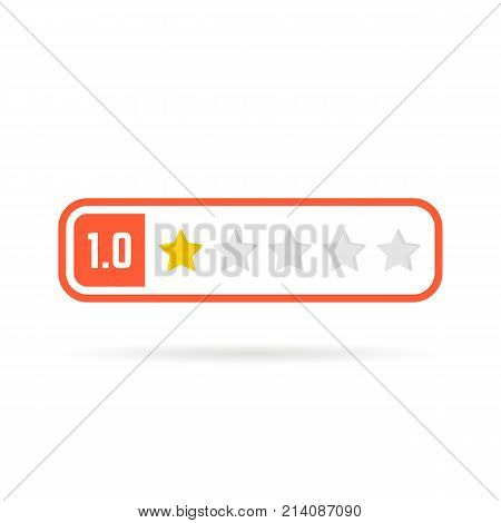 negative feedback frame like one star. concept of web blog ui, no satisfaction, red mobile application, classify test form, estimate class. flat style trend logotype graphic design on white background