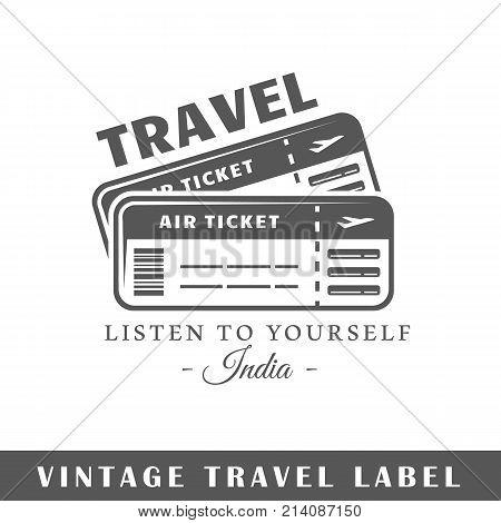Travel label isolated on white background. Design element. Template for logo signage branding design. Vector illustration