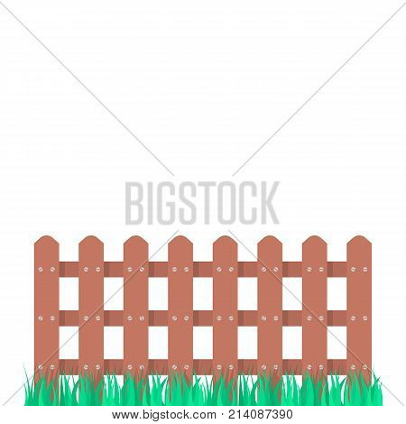 wooden fence garden with green grass. concept of architecture, rural construction shape, defense post, hillbilly sign, house protect. flat style trend modern graphic art design on white background