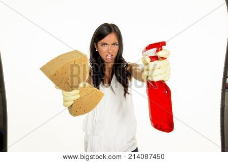 housewife is angry about cleaning
