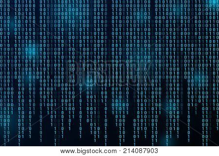 Digital binary data and streaming binary code background. Matrix background with digits 1.0. Vector illustration