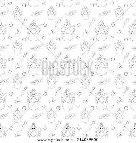 Vectron Seamless Pattern Of Elements Drawn Manually In The Style Of Doodle. Christening, Angel, Reli